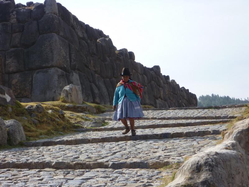 Peruvian woman at ruins