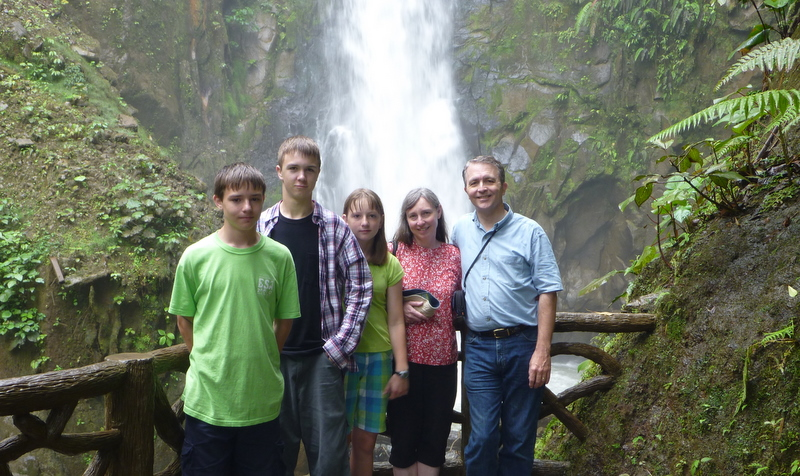 The family at a waterfall