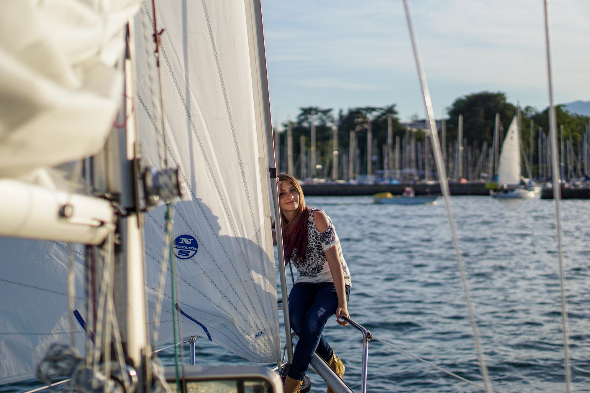Sailing at Lac Léman with friends near Geneva, Switzerland.
